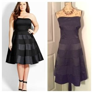 City Chic Miss Shady strapless dress fit/flare